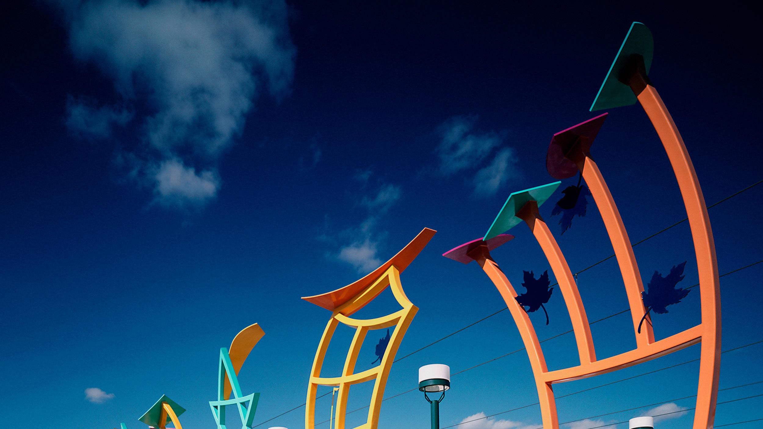 David Griggs Seven Sisters Metal Light Rail Public Art